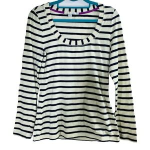 Boden Size 6 Long Sleeve Tee Navy Striped Tee Top